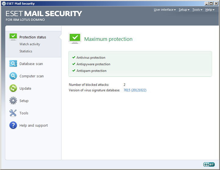 ESET Mail Security Domino Lotus Status