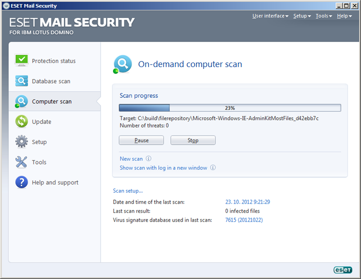 ESET Mail Security Domino Lotus Fereastră