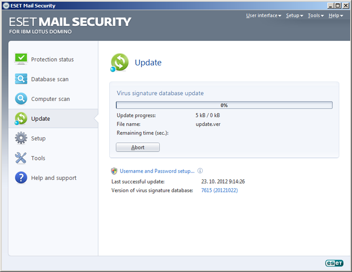 ESET Mail Security Domino Lotus Actualizare