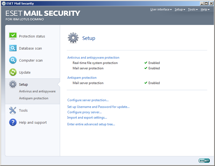 ESET Mail Security Domino Lotus Setări