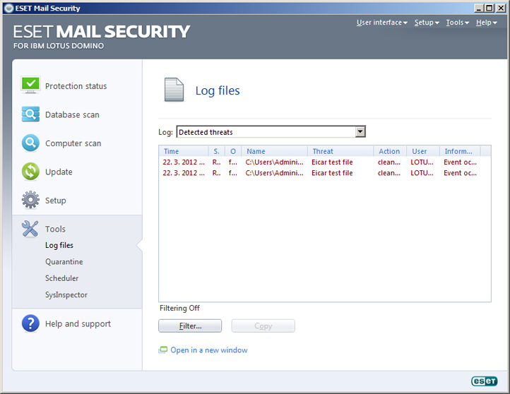ESET Mail Security Domino Lotus Jurnale