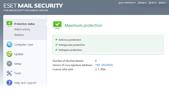 ESET Mail Security Exchange45 status protecție