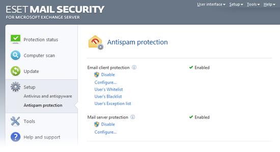 ESET Mail Security Exchange45 Protecție Antispam