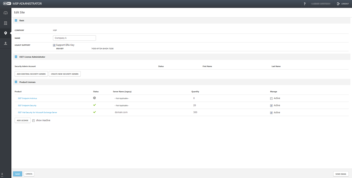 ESET MSP site client