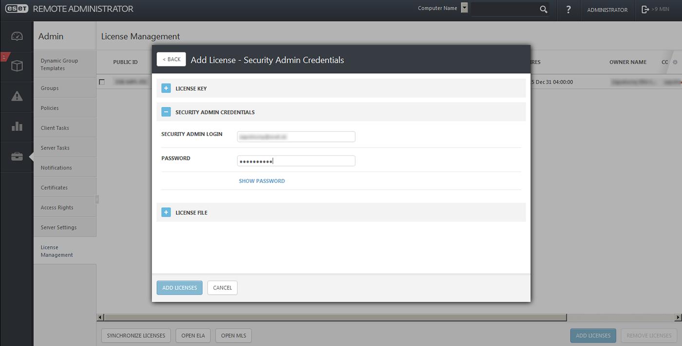 ESET MSP Remote Administrator Management Licențiere