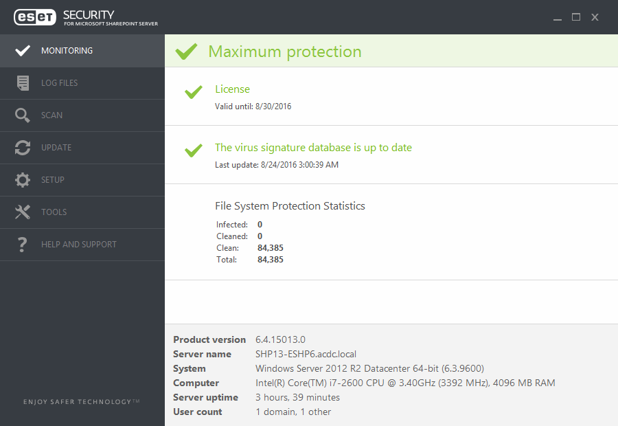 ESET Sharepoint Security Monitorizare